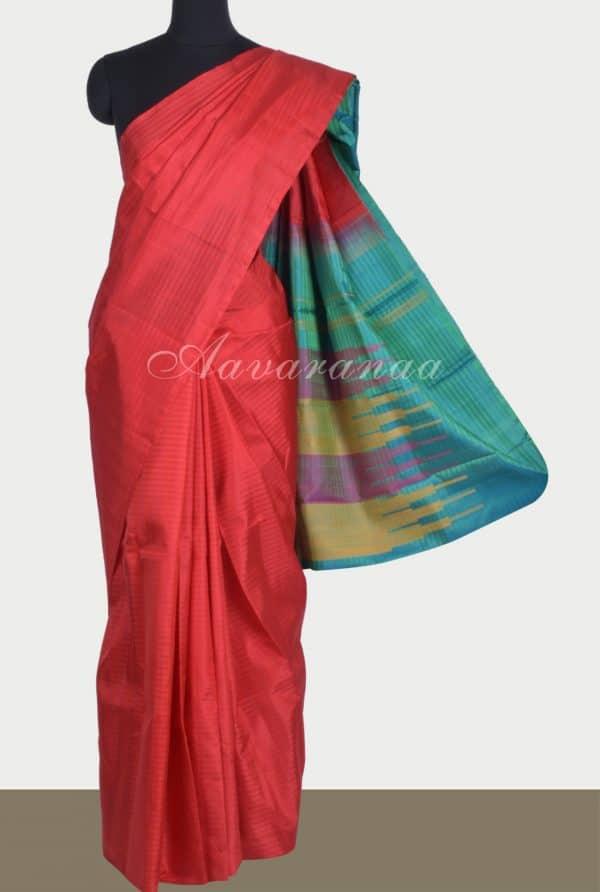 Reddish orangeplain silk saree-0