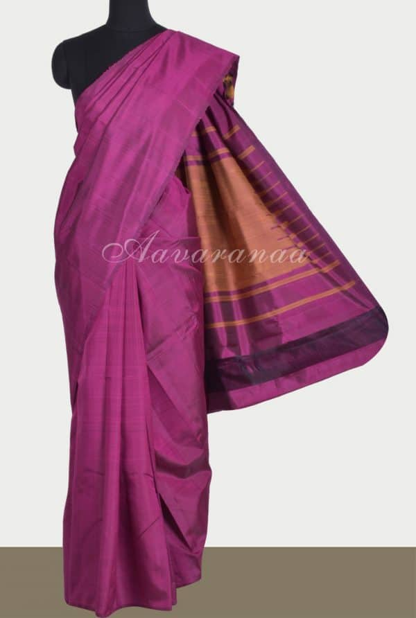 Purple plain silk saree-0