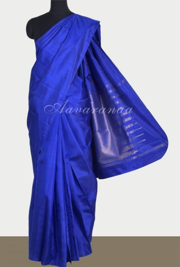 Royalblue plain silk saree-0