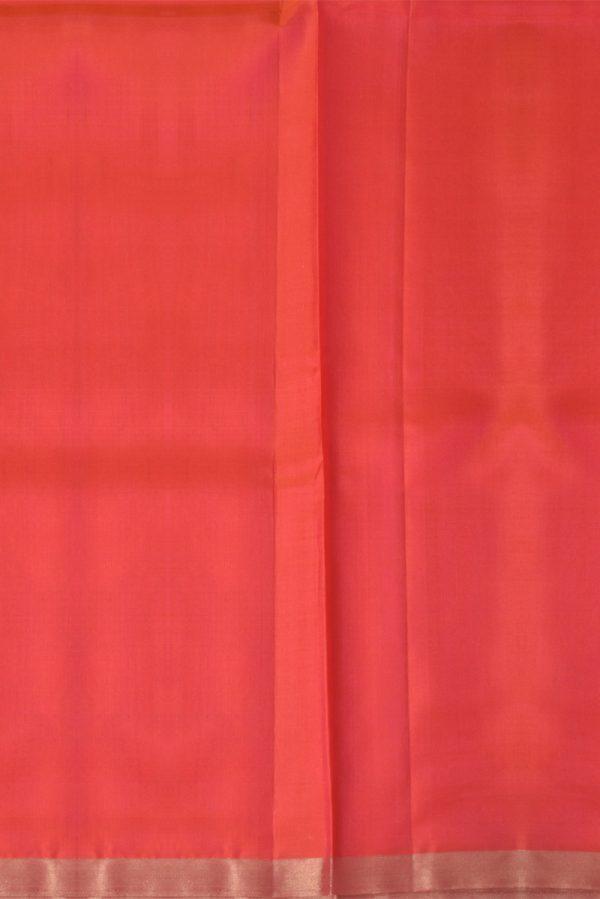 Brightred plain silk with zari border-13381