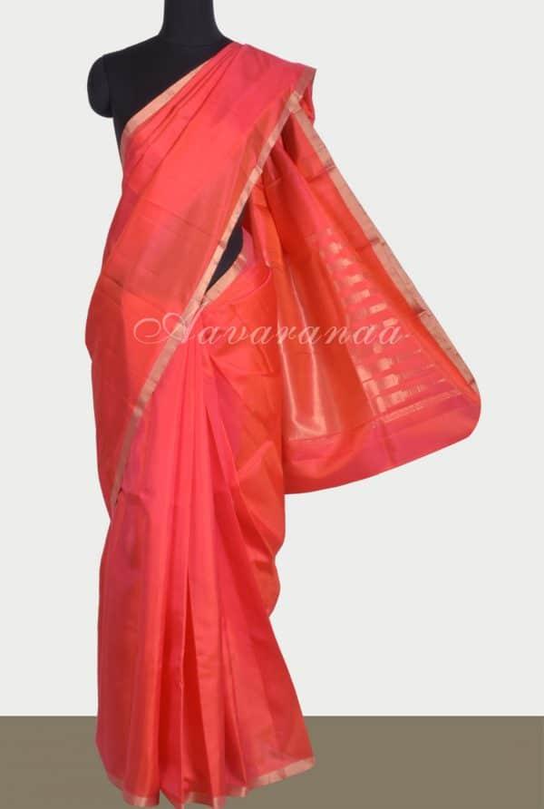 Brightred plain silk with zari border-0
