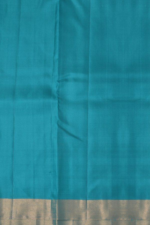 Sober tealplain silk with zari border-13385