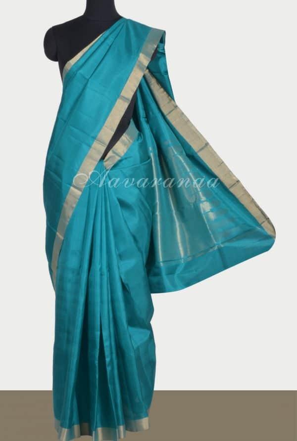 Sober tealplain silk with zari border-0
