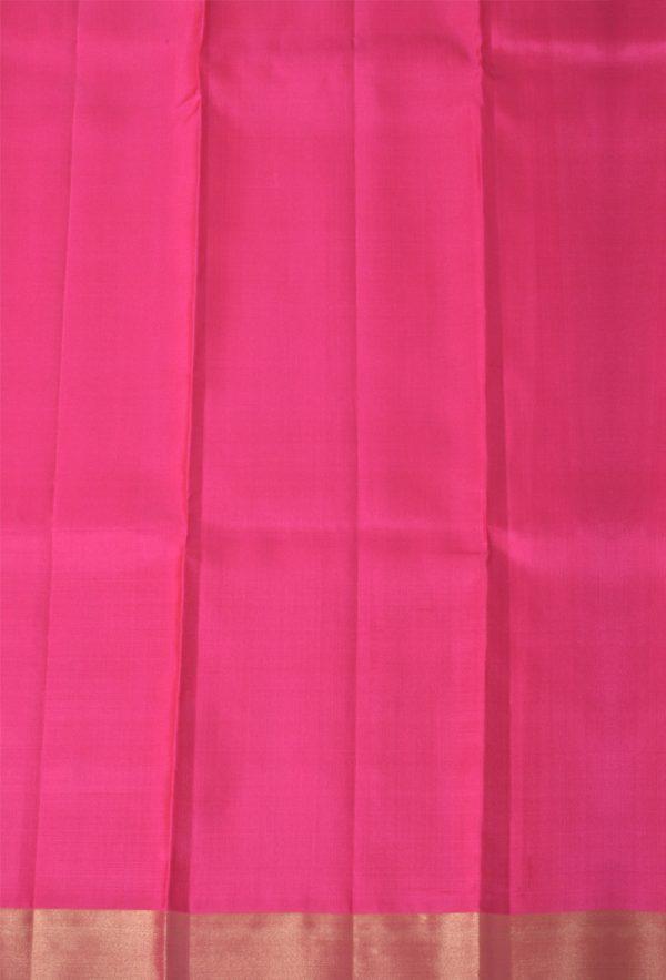 Bright Pinkplain silk with zari border-13397