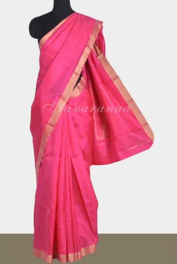 Bright Pinkplain silk with zari border-0