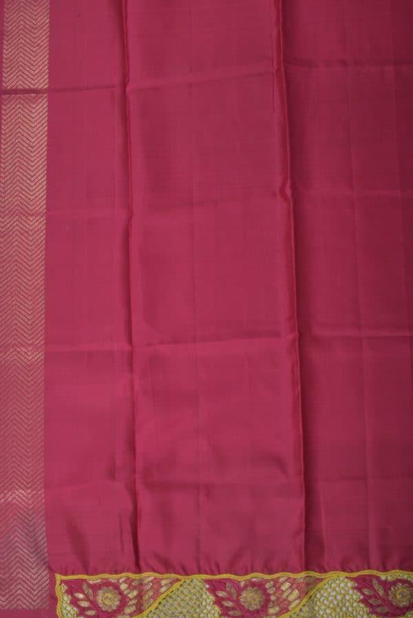 Mustard red kanchi cutwork saree-13310