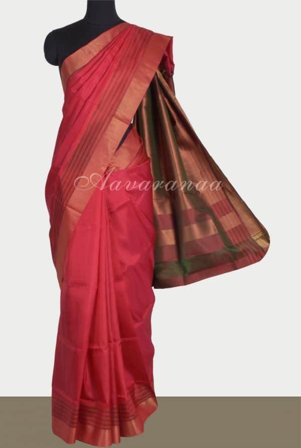 Red striped border uppada silk saree-0