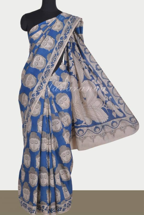 Bluebuddha kalamkari saree-0