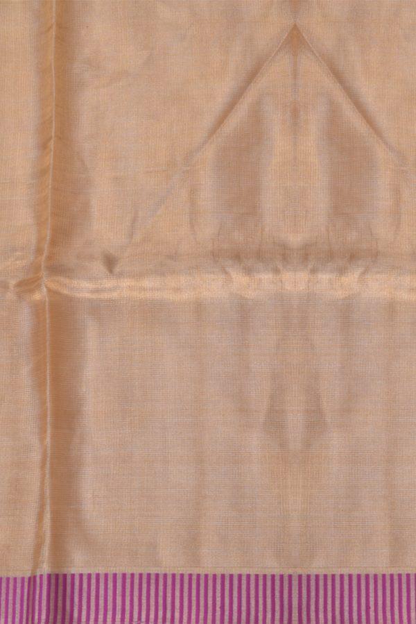 Gold tissue linen saree majenta border-13295