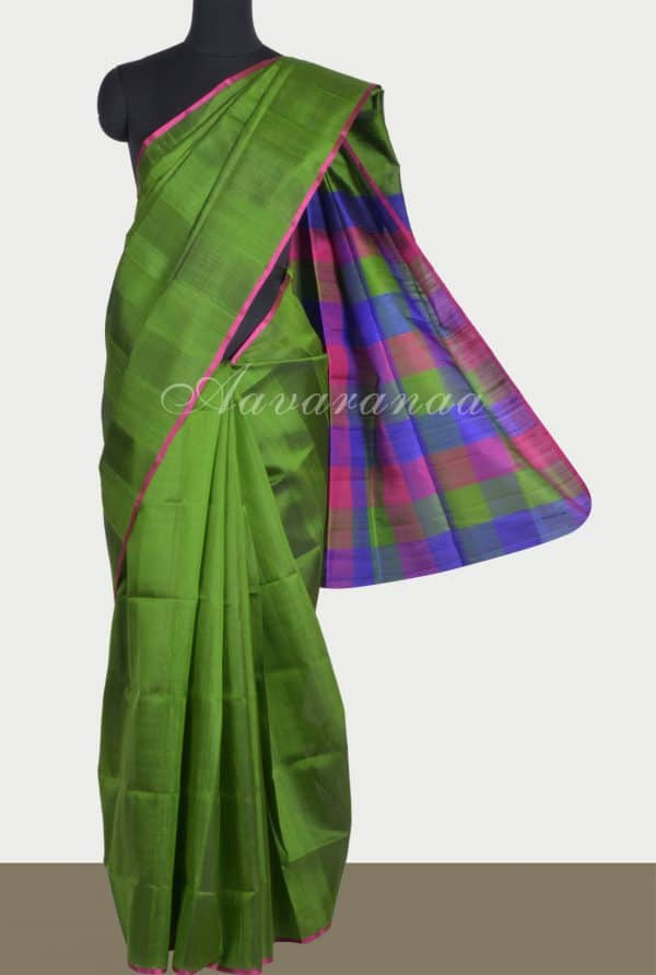 Green dupion silk saree with checks pallu-0