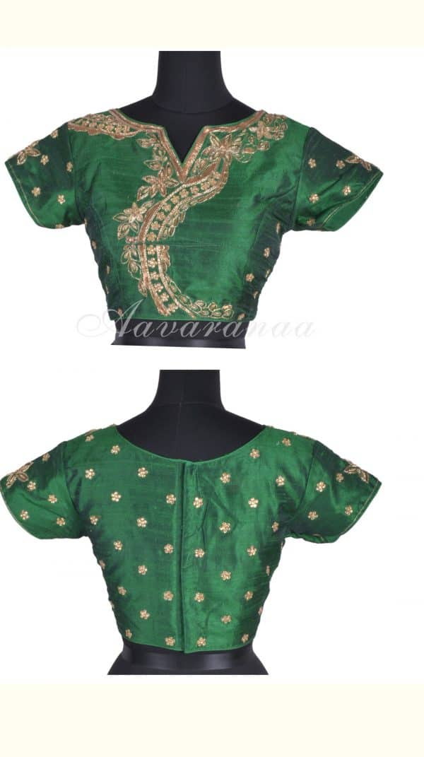 Bottle green fancy front boat neck blouse-0