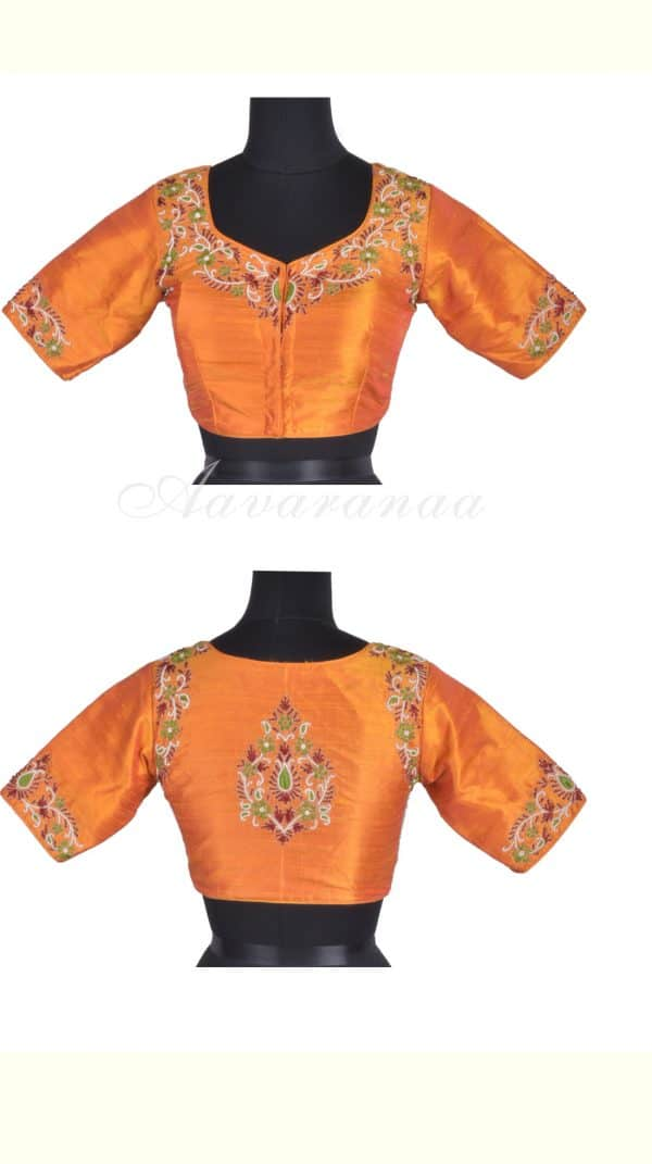 Orange raw silk blouse with red and green embroidery-0