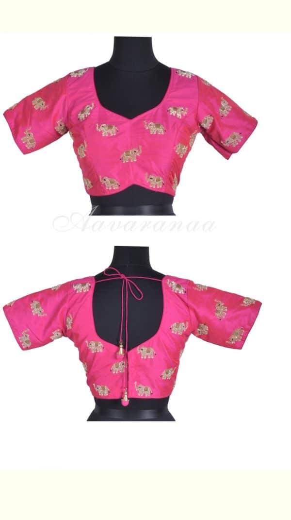 Pink haathi embroidery raw silk blouse-0