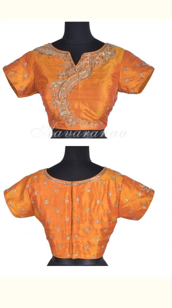 Mustardfancy front boat neck blouse-0
