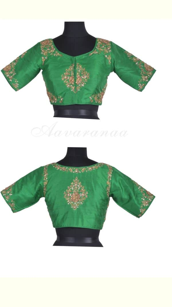 Leaf green embroidered raw silk blouse-0