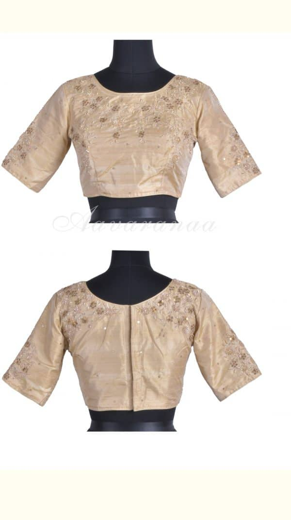 Beigeshoulder embroidery raw silk blouse-0