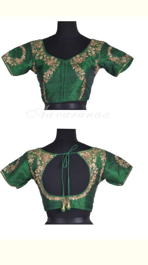 Bottle greenpot back embroidered raw silk blouse-0