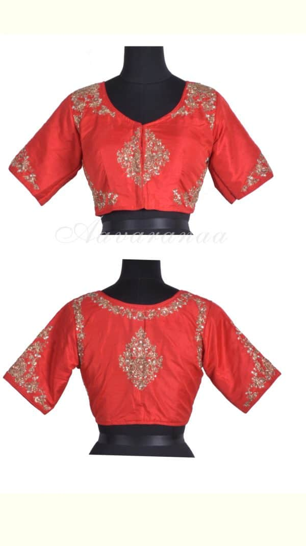 Redembroidered raw silk blouse-0