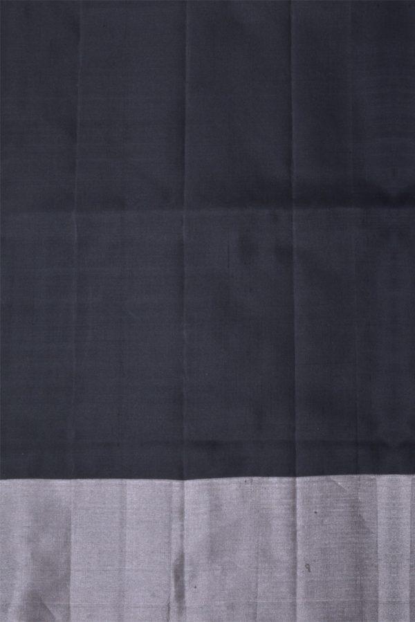 Black silver polka dots saree-13417