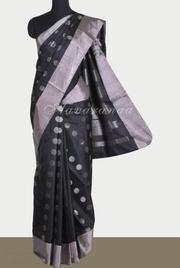Black silver polka dots saree-0
