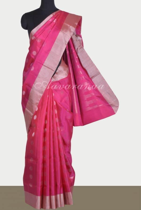 Bright pinksilver polka dots saree-0