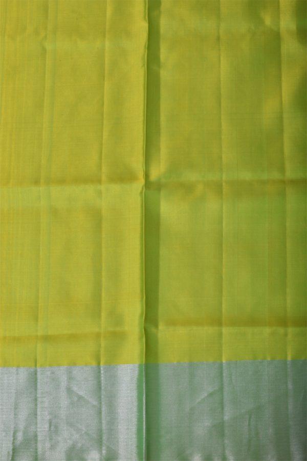 Neon green silver polka dots saree-13425