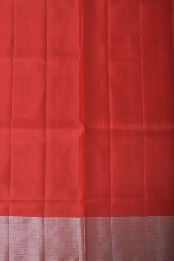 Red silver polka dots saree-13433