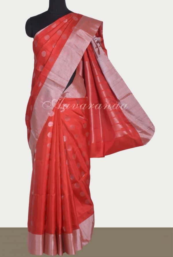 Red silver polka dots saree-13432