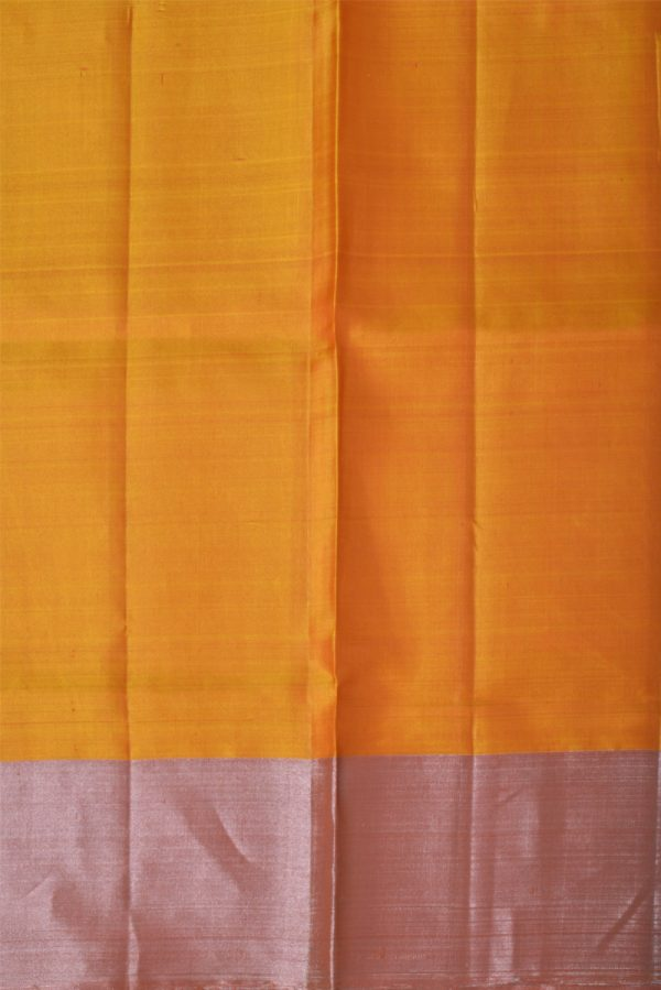 Mustard silver polka dots saree-13437