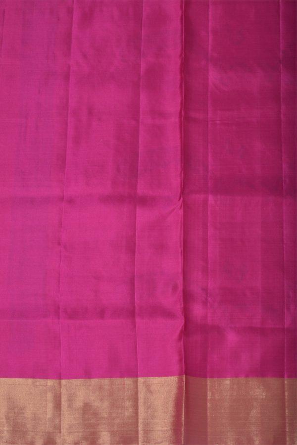 Beige soft silk saree with pink pallu-13453