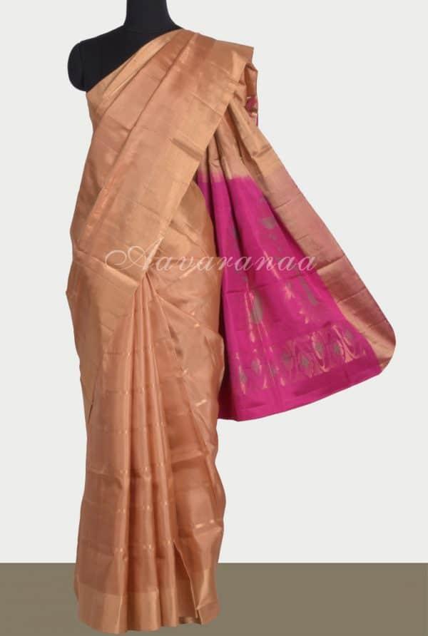Beige soft silk saree with pink pallu-0