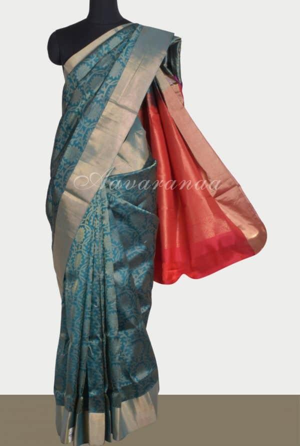 Cobalt blue brocade soft silk saree-0