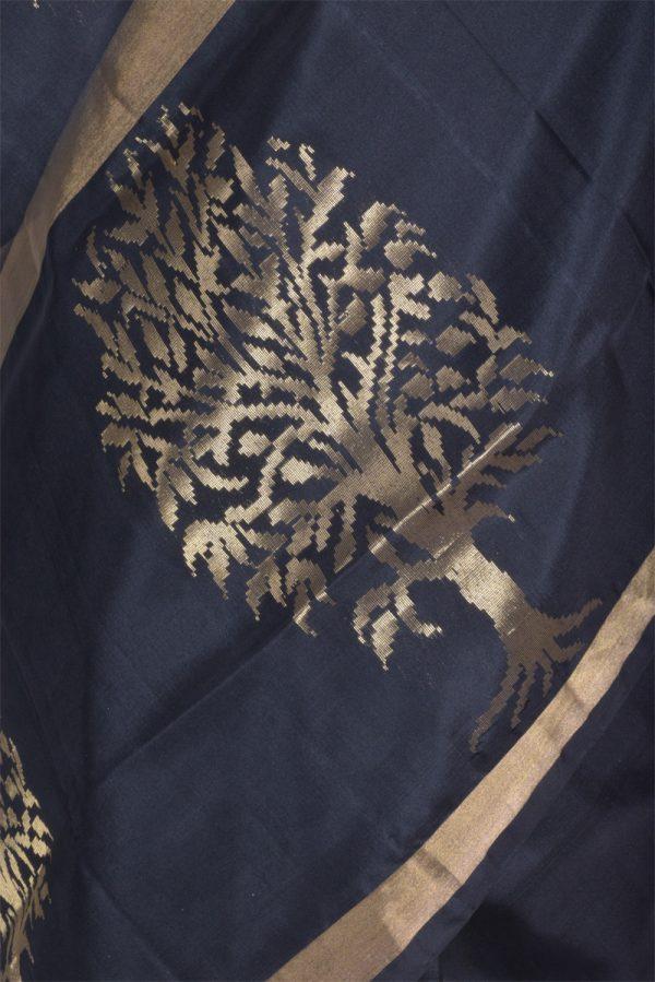 Black silk saree with tree border-13471