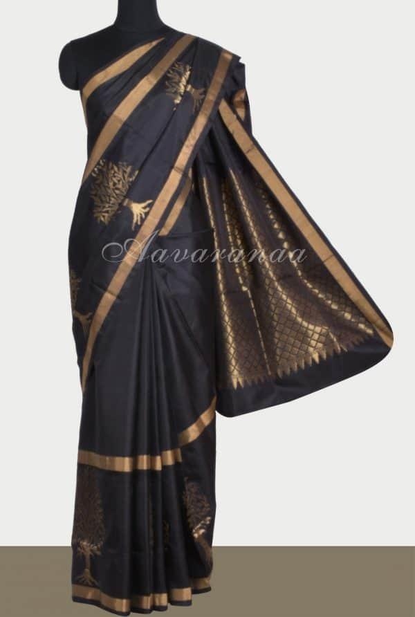 Black silk saree with tree border-0