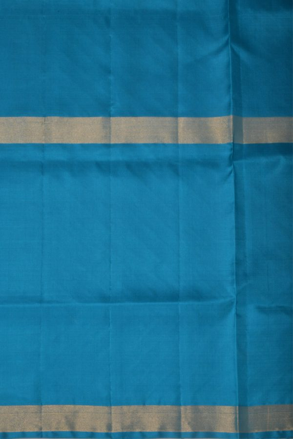 Blue silk saree with tree border-13477