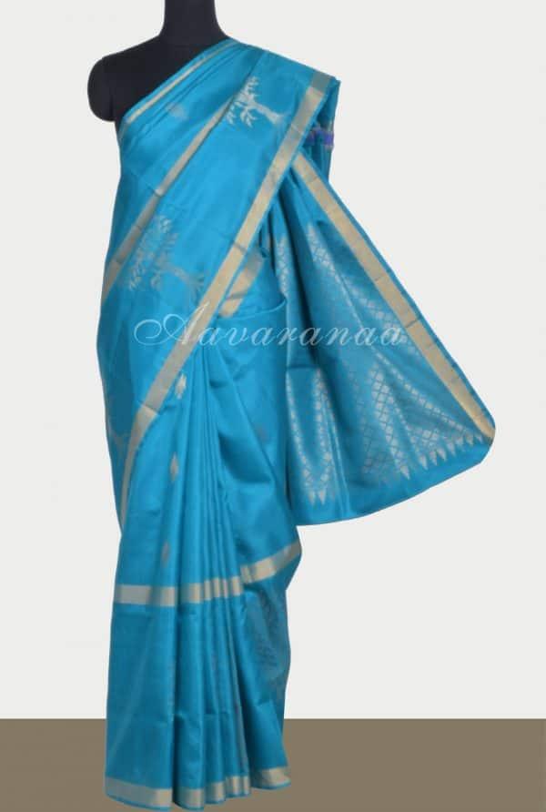 Blue silk saree with tree border-0