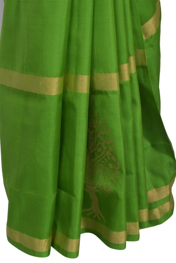 Green silk saree with tree border-13481
