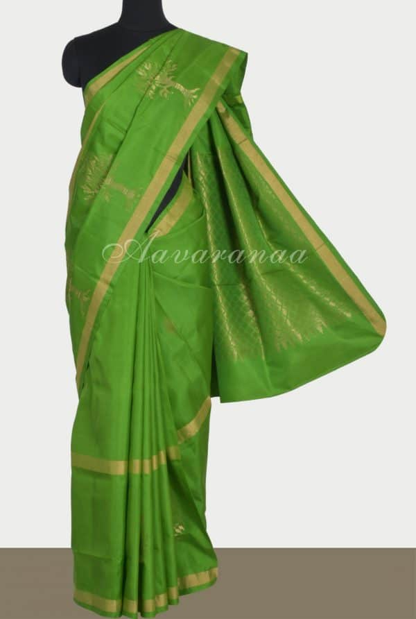 Green silk saree with tree border-0