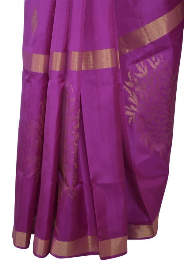 Lavendar silk saree with tree border-13493