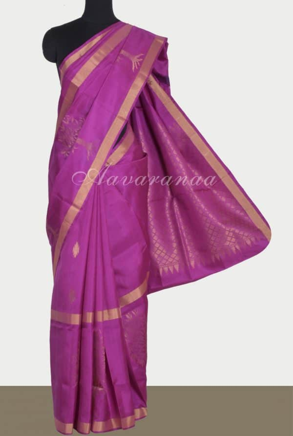 Lavendar silk saree with tree border-0