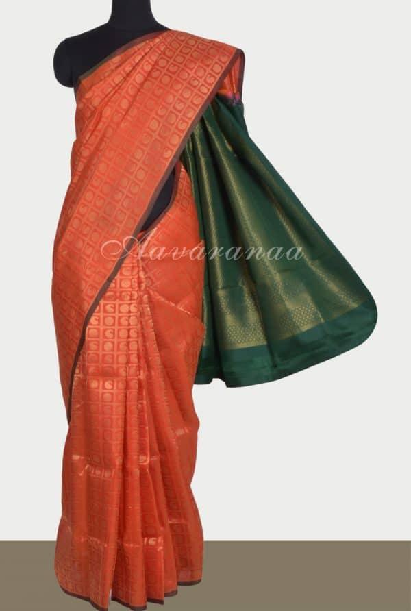 Orange brocade silk saree-0
