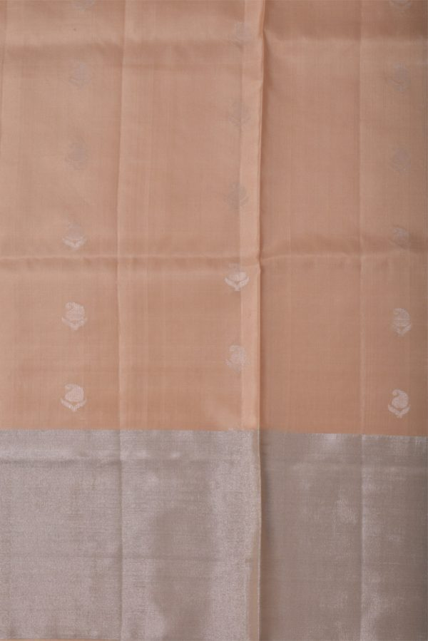 Cream brocade silk saree-13512