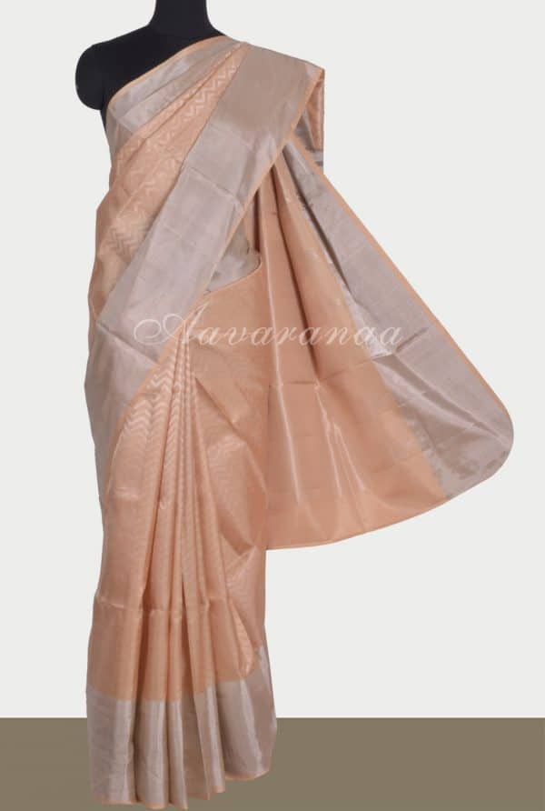 Cream brocade silk saree-0