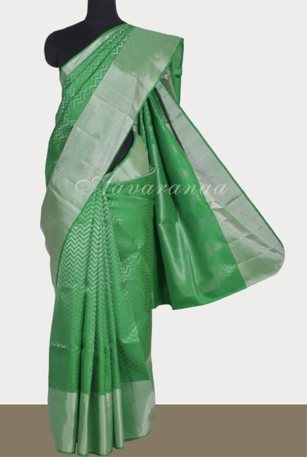 Greenbrocade silk saree-0