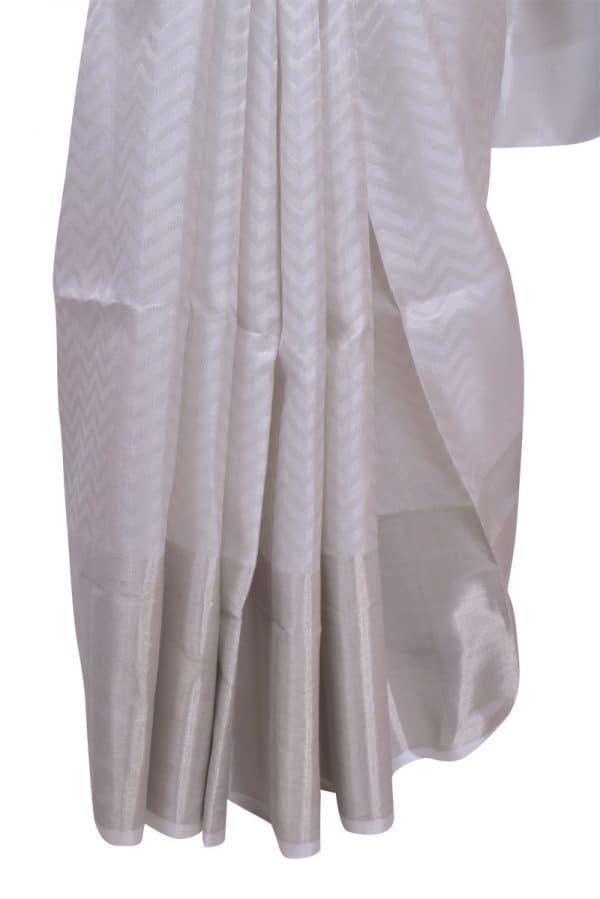 White brocade silk saree-13521