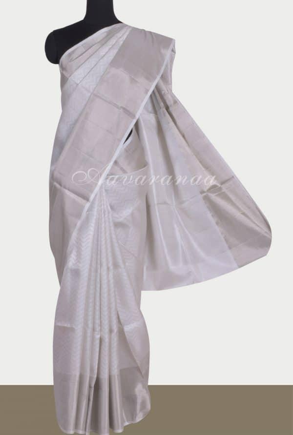 White brocade silk saree-0