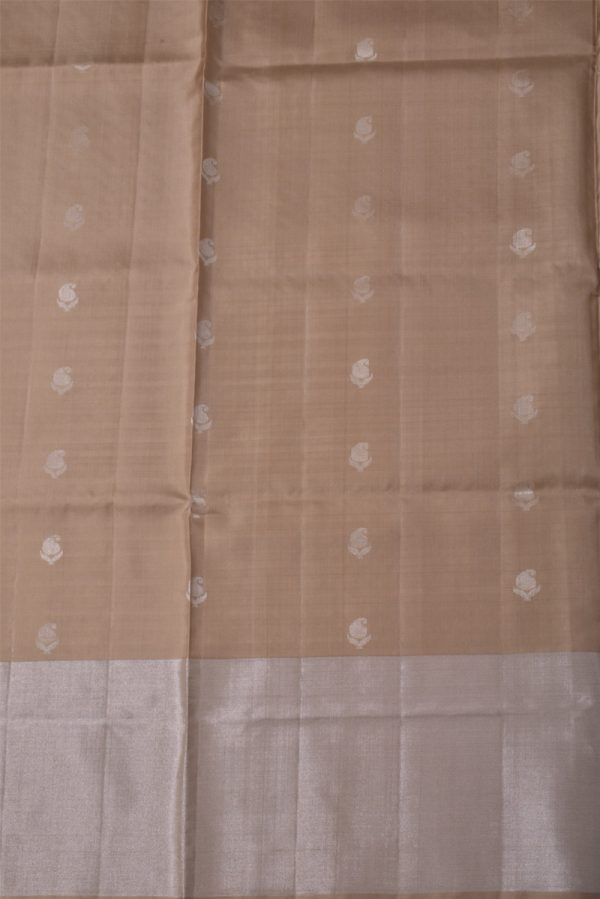 Beige brocade silk saree-13527