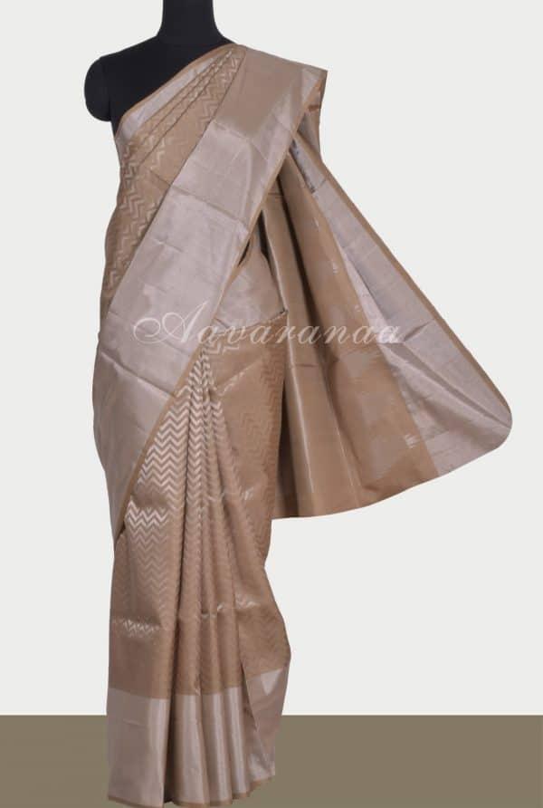 Beige brocade silk saree-0