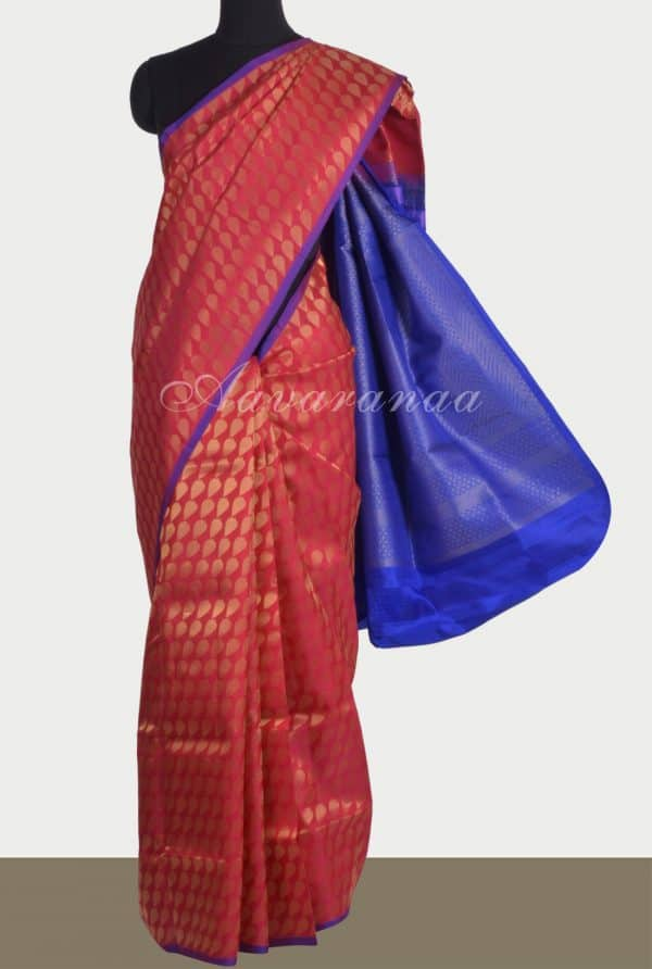 Red brocade silk saree with gold zari -0