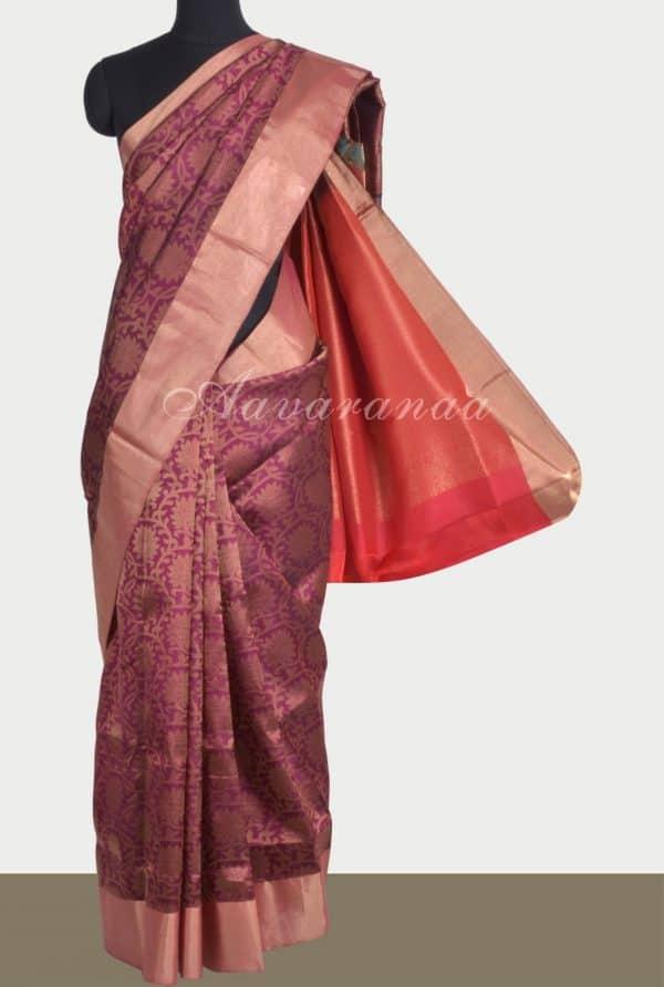 Wine brocade silk saree-0